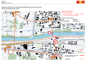 Übersichtplan Strassensperrung und Umleitung